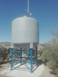 Cylindrical tank on metal structure